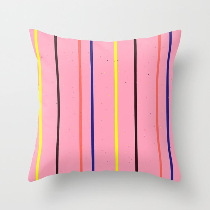 Colorful Stripes on a Pink Background Throw Pillow