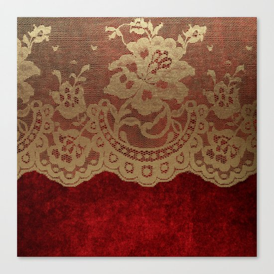 Red Lace Velvet 01 Canvas Print