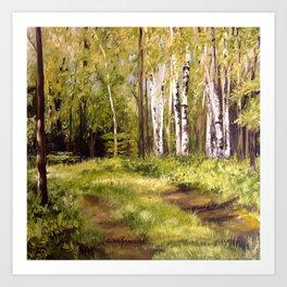 Birch Trees Nature Landscape Oil Painting Art Print