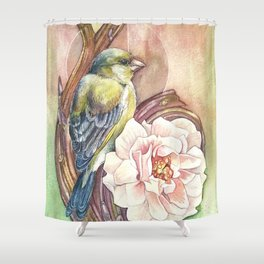 Green and Rose Shower Curtain