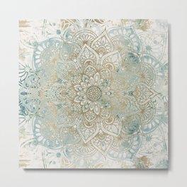 Yoga, Mandala, Teal and Gold, Wall Art Boho Metal Print