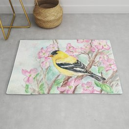 Goldfinch and Dogwood Flowers Rug