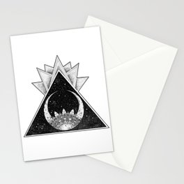 Geometric Crescent Moon Mandala Stationery Cards