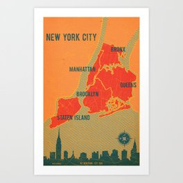 NYC Boroughs in Red Art Print