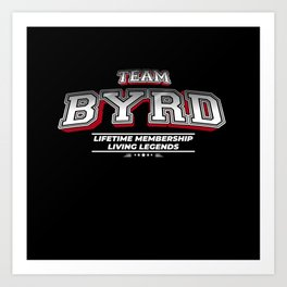Team BYRD Family Surname Last Name Member Art Print