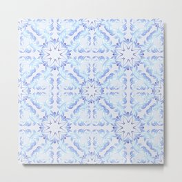 Baroque style blue pattern. Christmas motif. Metal Print