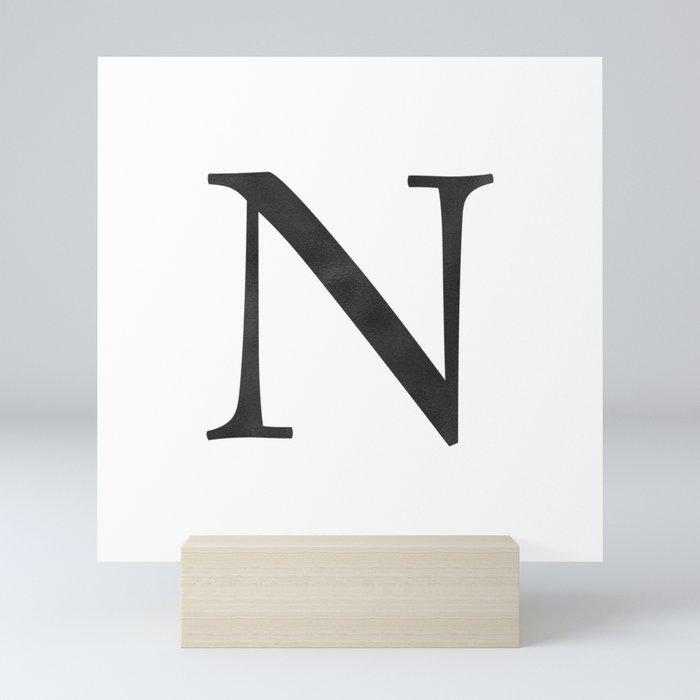 Letter N Initial Monogram Black and White Mini Art Print