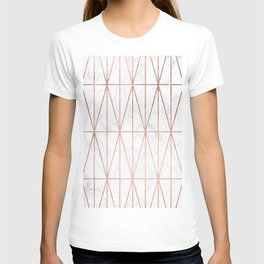 Modern geometric triangles faux rose gold pattern on white marble T-shirt