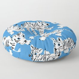 Mystical White Tigers at Play Floor Pillow