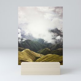 View over foggy green mountains in Peru, nature travel landscape photography Mini Art Print