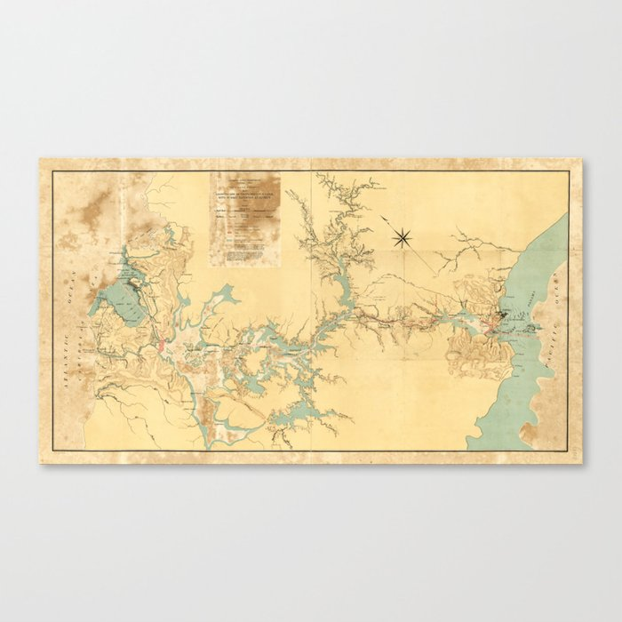 Map of the Proposed Panama Canal (1906) Canvas Print by thearts