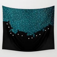 beaver Wall Tapestries featuring Squirrels by night #1 by Fuzzorama