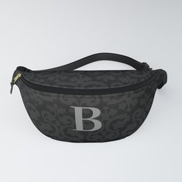 Modern Black Grey Damask Letter B Monogram Fanny Pack