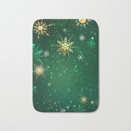 Gold Snowflakes on a Green Background Bath Mat