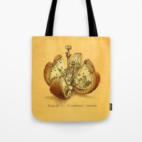 clockwork Tote Bags featuring Steampunk Orange  (color option) by Eric Fan