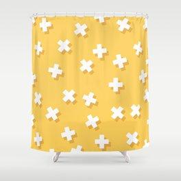 Modern Swiss Cross Yellow Shower Curtain