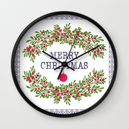 Merry christmas and happy new year white greeting card wreath light white background Wall Clock