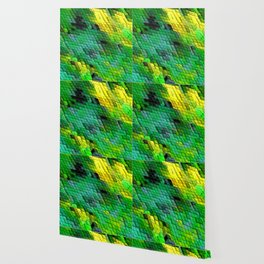Abstract Green and Yellow Tile design Wallpaper