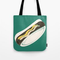 hot dog Tote Bags featuring Hot Dog by Haina