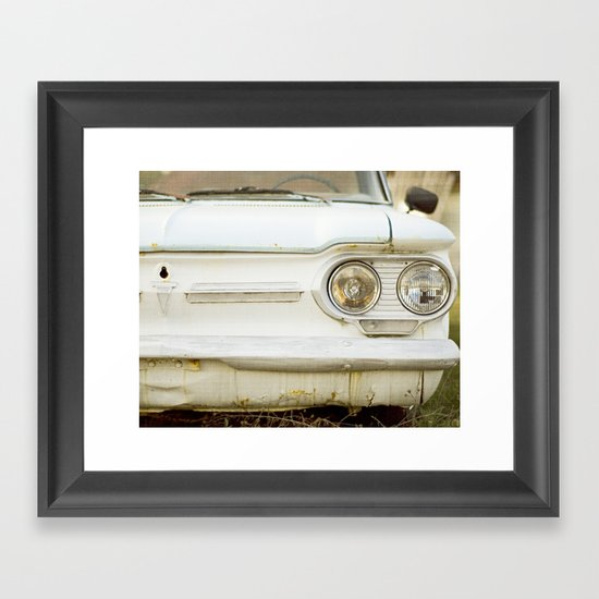 Vintage Rustic Car Light Blue White Framed Art Print
