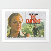 "lindsay lohan Art Prints featuring Lindsay Lohan ""The Canyons"" Retro Film Poster by Eric Terino"