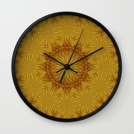 Golden Abstract Flowers Wall Clock