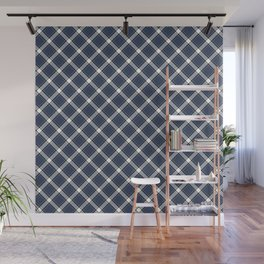 Navy Blue, White, and Black Diagonal Plaid Pattern Wall Mural
