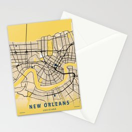 New Orleans Yellow City Map Stationery Cards
