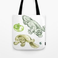 platypus Tote Bags featuring Platypus by Mayra Boyle