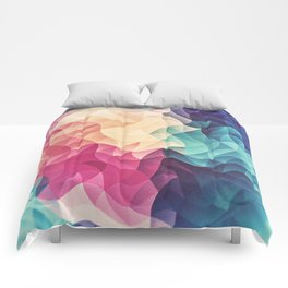 Geometry Triangle Wave Multicolor Mosaic Pattern - (HDR - Low Poly Art) - FULL Comforters