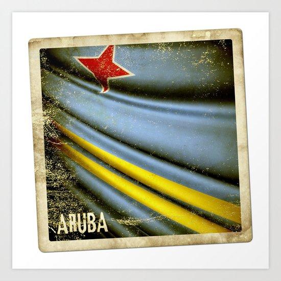 Grunge sticker of Aruba flag Art Print