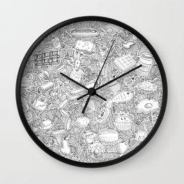 Kitchen Food Zentangle Illustration Wall Clock