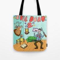 evil dead Tote Bags featuring ♥ EVIL DEAD 2 ♥ by Josh LaFayette