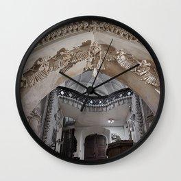 Sedlec Ossuary Entrance Photo Art, Skull Bone Church Wall Clock