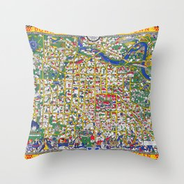 ANN ARBOR University map MICHIGAN dorm Throw Pillow