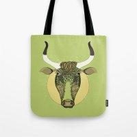 taurus Tote Bags featuring Taurus by Vibeke Koehler