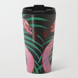 Birthday Flamingos Metal Travel Mug