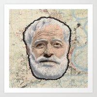 hemingway Art Prints featuring Ernest Hemingway by steam