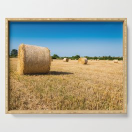 Hay bales in France Serving Tray