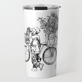 Bicycle Flower Seller in Hanoi in Pencil Travel Mug
