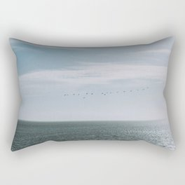 Freedom of birds flying above the Dutch - soft - colored - sea photography Rectangular Pillow