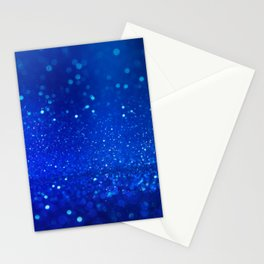 Abstract blue bokeh light background Stationery Cards