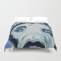great dane Duvet Covers featuring Great Dane in Purple by Barking Dog Creations Studio