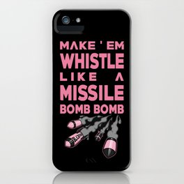 pink whistle missil bomb bomb black iPhone Case