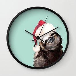 Christmas Sloth in Green Wall Clock