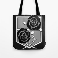 attack on titan Tote Bags featuring Attack on Titan Stationary Guard by InVERT1X