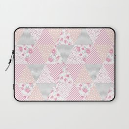 Pink soft flowers triangle quilt pattern print for home decor nursery craft room Laptop Sleeve