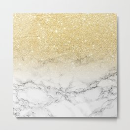 Modern faux gold glitter white marble color block Metal Print