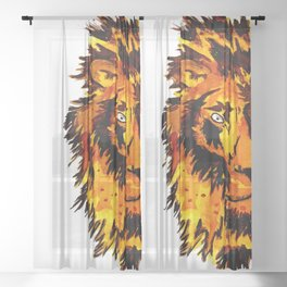 Watercolor Male Lion Half Face Sheer Curtain