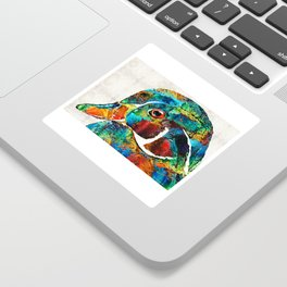 Colorful Wood Duck Art by Sharon Cummings Sticker